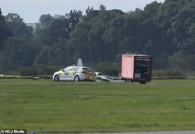 Teeside airport: Pilot and two passengers are rushed to hospital as aircraft crashes on runway